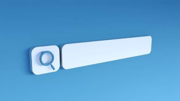 Barra de pesquisa mínima em branco em azul. renderização 3d