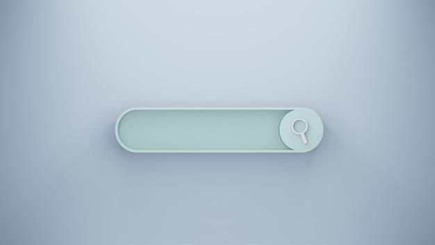 Barra de pesquisa ou lupa em renderização 3d em branco