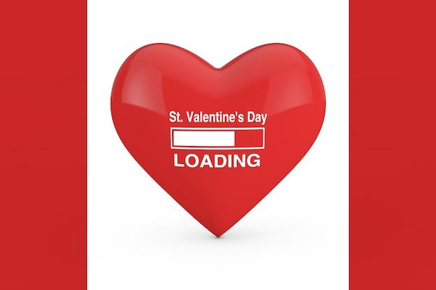 Barra de progresso mostrando o carregamento do dia de são valentim com coração vermelho em um fundo branco e vermelho. renderização 3d