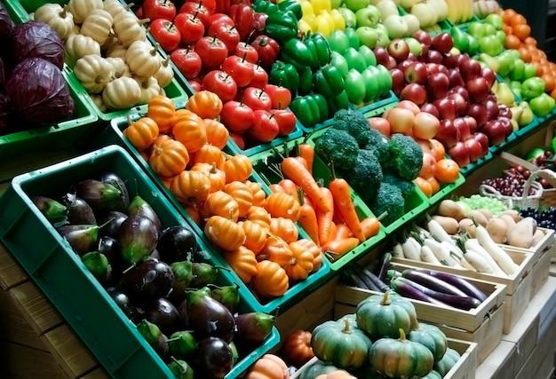 Barraca de frutas e vegetais no mercado