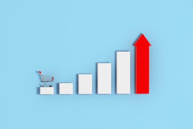 Barras crescentes e diagrama de gráfico de gráfico de seta vermelha com carrinho de compras em um fundo azul. renderização 3d