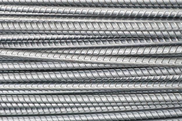 Barras de aço fechem textura para construção de indústria de fundo raso dof