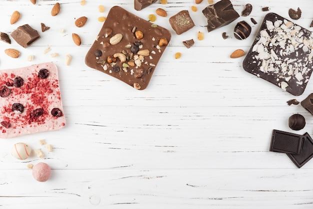 Barras de chocolate de vista superior