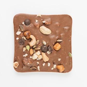 Barras de chocolate vista superior com nozes