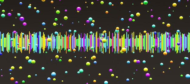 Barras de ondas sonoras de todas as cores com esferas ao redor em fundo escuro