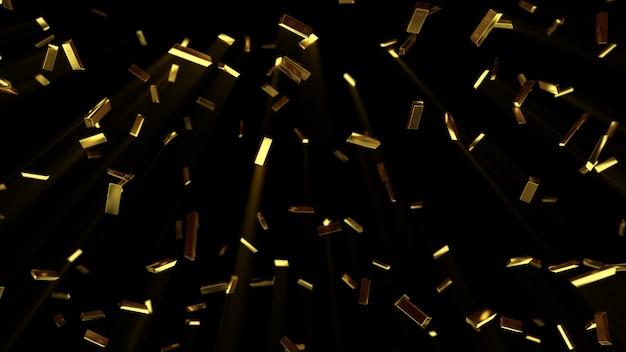 Barras de ouro caindo
