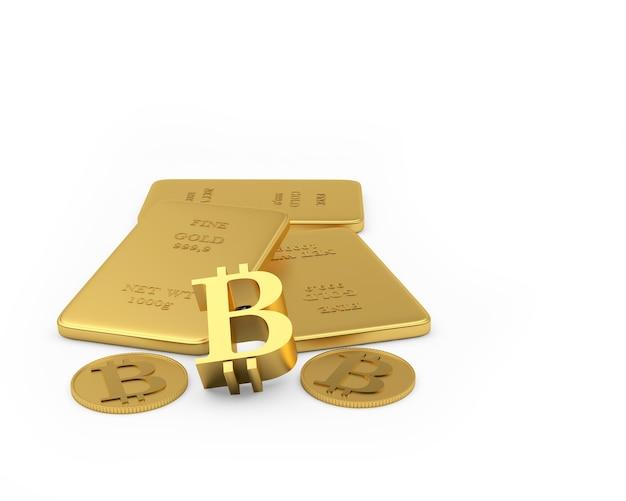 Barras de ouro com bitcoin