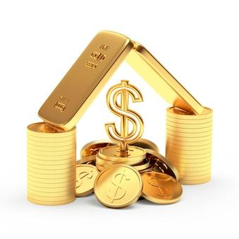 Barras de ouro com moedas e cifrão