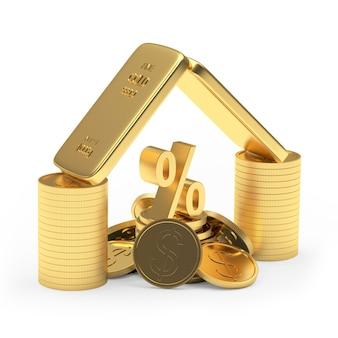 Barras de ouro com moedas e sinal de porcentagem