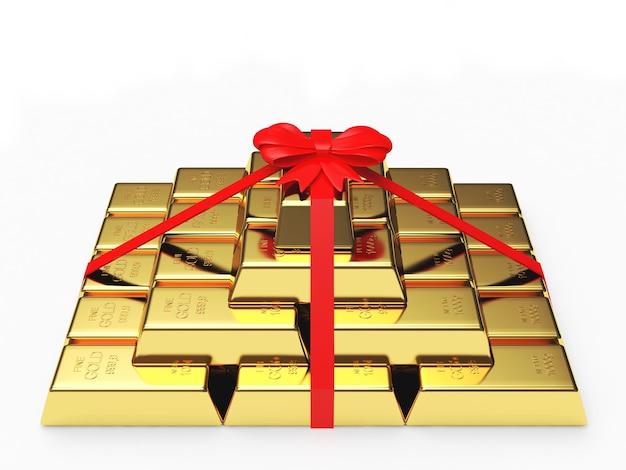 Barras de ouro de presente empilhadas em uma pirâmide