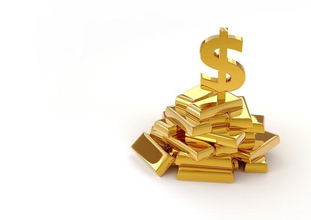 Barras de ouro e dólar em branco
