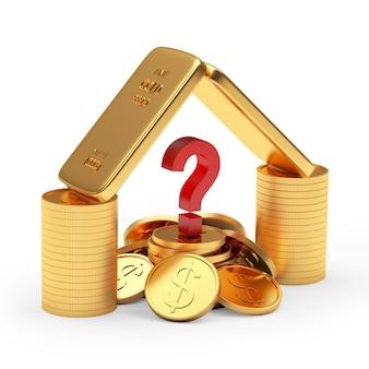 Barras de ouro e moedas empilhadas como uma casa com um ponto de interrogação