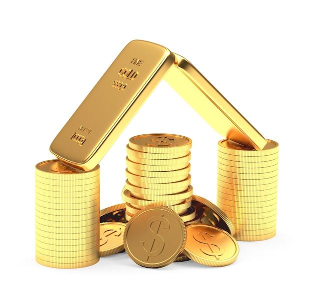 Barras de ouro e moedas empilhadas em forma de casa