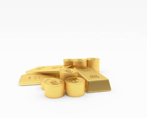 Barras de ouro e pilhas de moedas. 3d