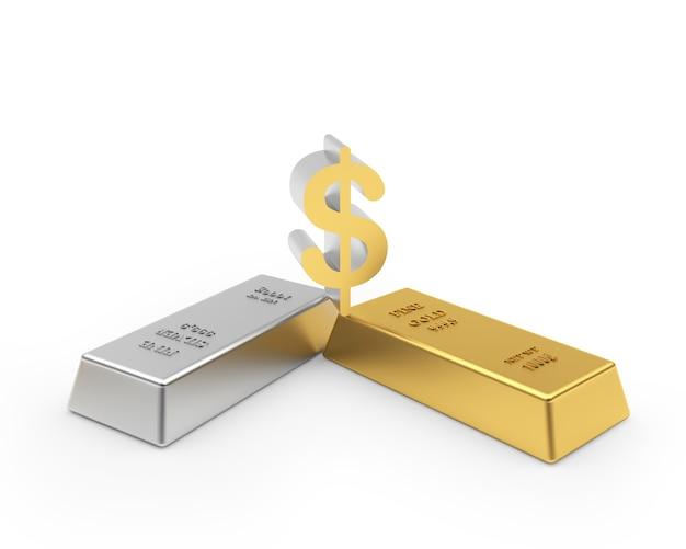 Barras de ouro e prata com cifrão 3d