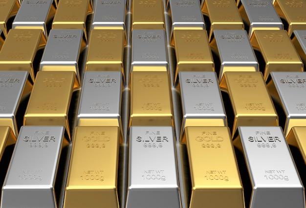 Barras de ouro e prata em linhas