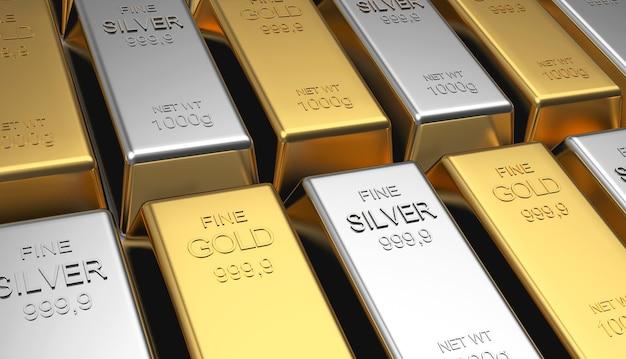 Barras de ouro e prata empilhadas em fileiras