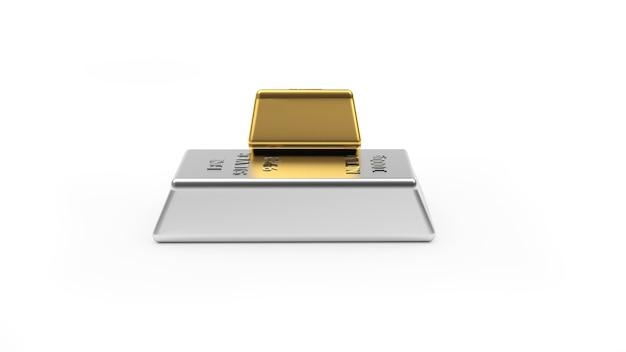 Barras de ouro e prata