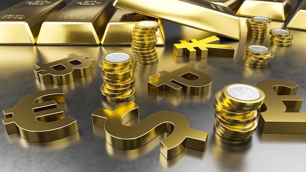 Barras de ouro e símbolos de moeda de ouro. fundo de bolsa de valores, conceito bancário ou financeiro.