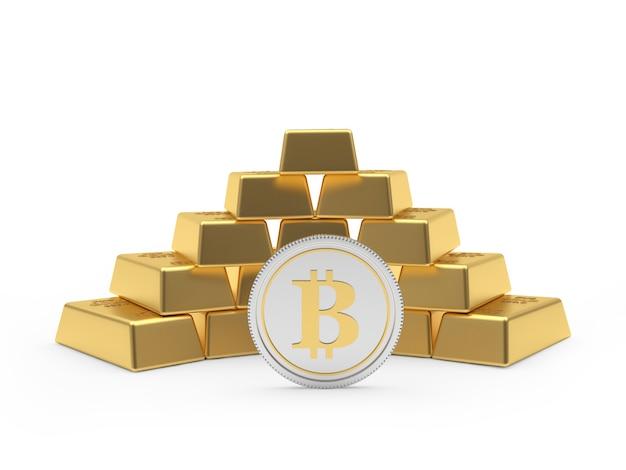 Barras de ouro em forma de pirâmide com uma moeda bitcoin. 3d