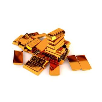Barras de ouro em um fundo branco. o conceito de sucesso nos negócios. ilustração 3d. render.