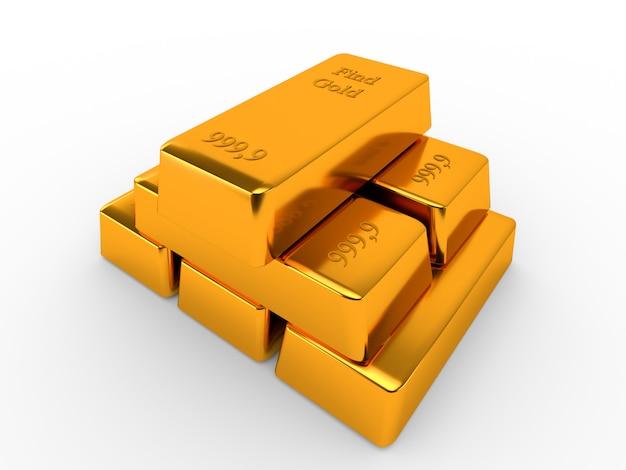Barras de ouro isoladas no fundo branco