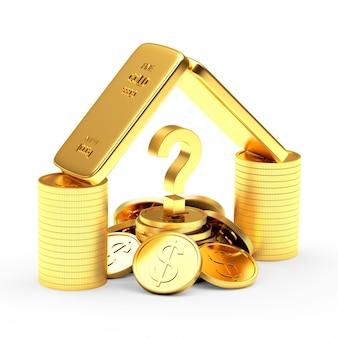 Barras de ouro, moedas e ponto de interrogação
