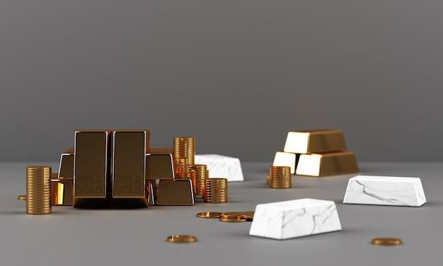 Barras de ouro moedas e riquezas com renderização 3d geométrica em textura de mármore