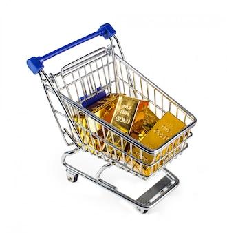 Barras de ouro no carrinho de compras