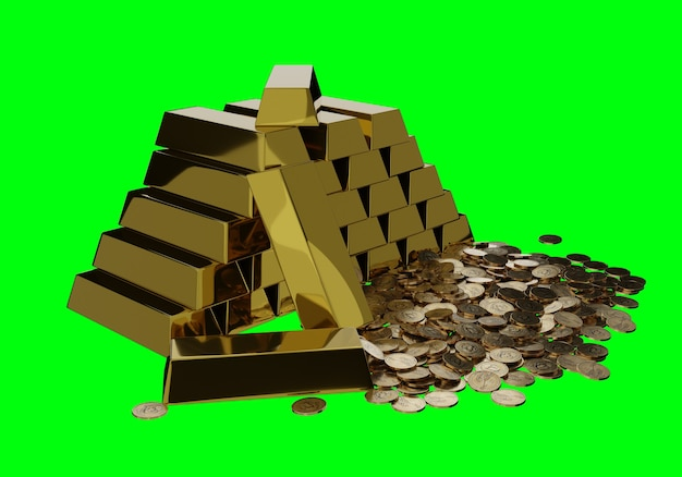 Barras de ouro no cofre do banco.