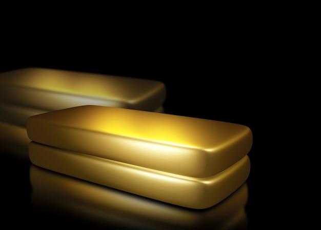 Barras de ouro no fundo preto com espaço de cópia