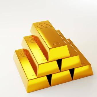 Barras de ouro para banner. renderização 3d de barras de ouro.