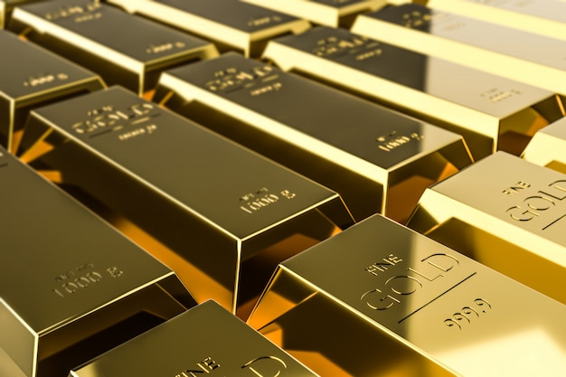 Barras de ouro puras de riqueza provenientes dos lucros das empresas em rápido crescimento.