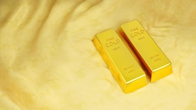 Barras de ouro puro em seda preciosa, luxo para um casal, riqueza financeira, conceito de sucesso nas finanças.