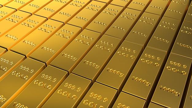 Barras de ouro renderização em 3d de 1000 gramas para conteúdo de negócios e finanças.