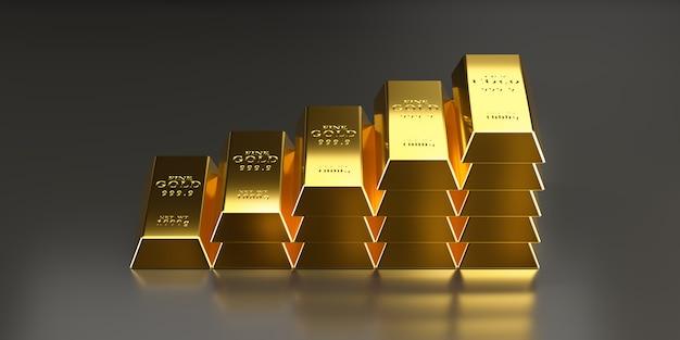 Barras de ouro são dispostas em camadas mais altas para comunicar o maior valor do ouro
