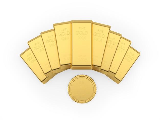 Barras de ouro são espalhadas com um bitcoin