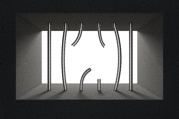 Barras de prisão quebradas na janela da prisão closeup extrema. renderização 3d.
