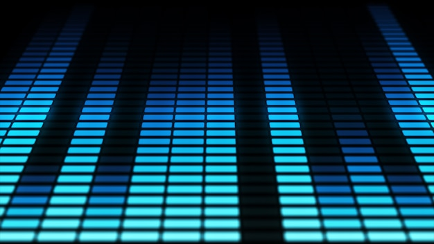 Barras do equalizador de áudio em movimento. níveis de controle de música. azul. mais opções de cores no meu portfólio.