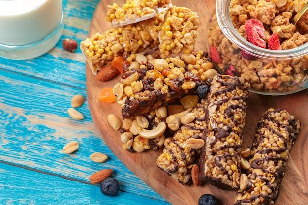 Barras e cereais de granola