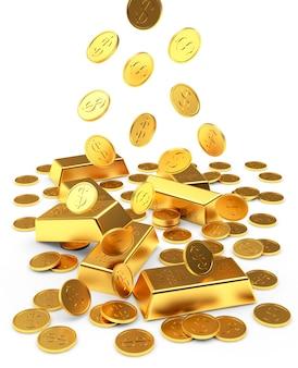 Barras e moedas de ouro caindo isoladas