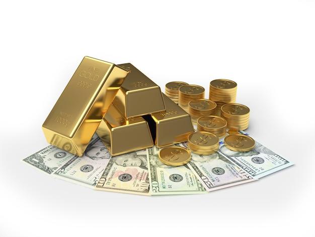 Barras e moedas de ouro em um leque de notas de dólar