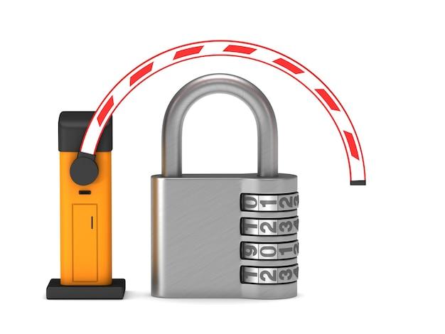Barreira automática e cadeado. renderização 3d isolada
