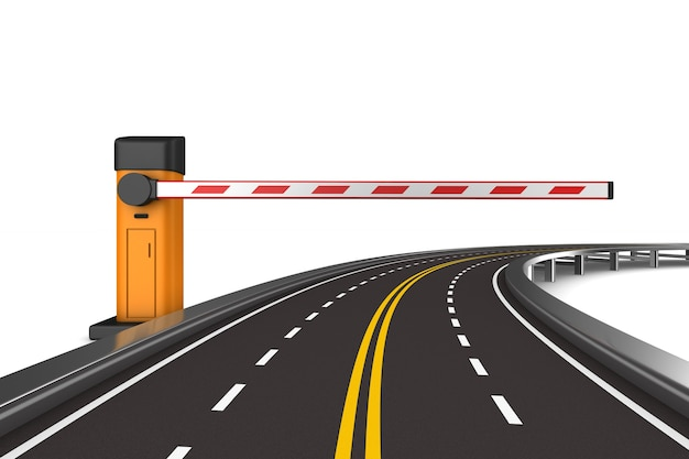 Barreira automática fechada e estrada. renderização 3d isolada