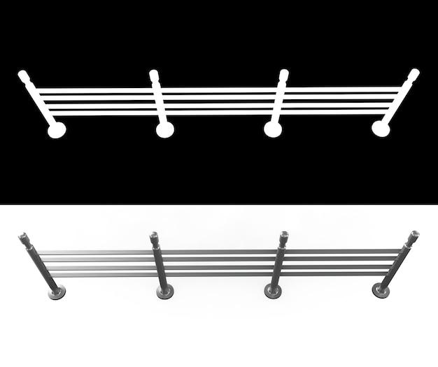 Barreira de multidão isolada no branco. ilustração 3d com canal alfa