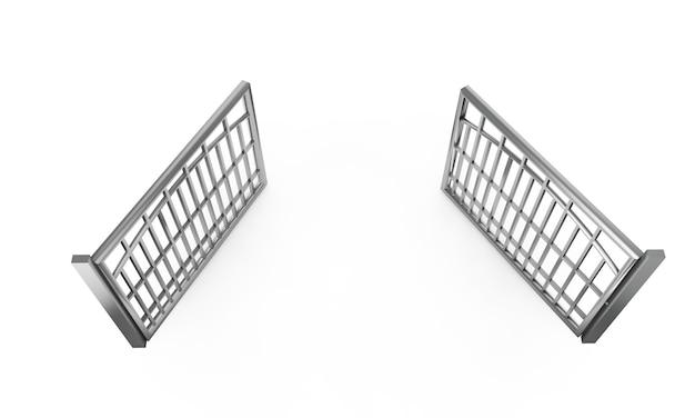 Barreira de multidão isolada no branco. ilustração 3d