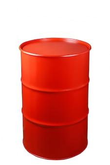 Barril de ferro vermelho isolado