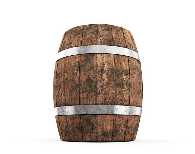 Barril de madeira com aros de ferro isolados no fundo branco. renderização 3d