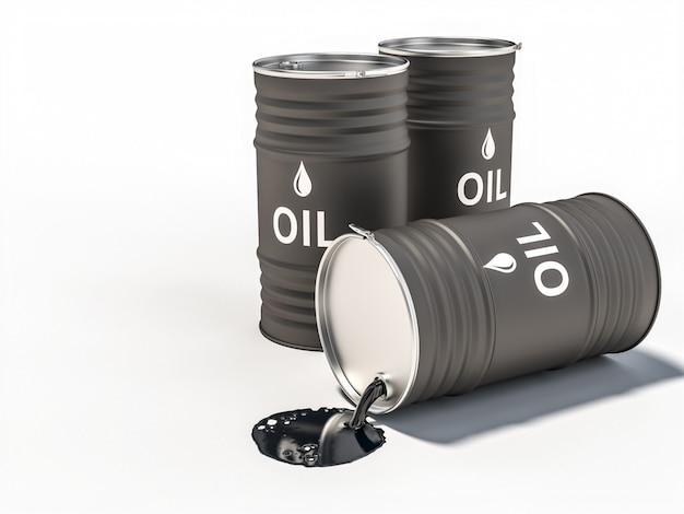 Barril de óleo derramado no chão.