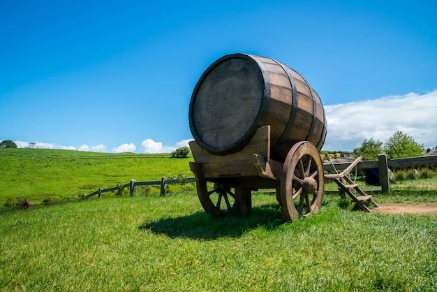 Barril de vinho no campo de grama verde